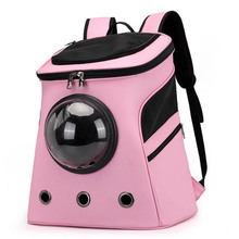 pet carrier backpack small size green Big Space Solid Color Pink Black Pet Carrier Backpack Bag Cats Dog Breathable PU Dog Carrier Seat for Puppy Small Dog Pet Stuff