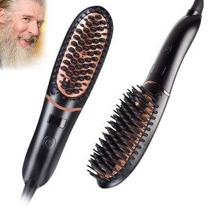 Men Beard Straightener Beard Smoothing Brush Hair Heat Brush Comb Ionic Electric Heating Comb Quick Styling Comb 100-240V