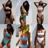 Minimalisme, Le Sexy Serpent Imprimer Bikinis Léopard femme Maillot de bain Maillot De Bain 2019 Nouveau Solide Tube top maillots de bain vêtements de Plage D'été