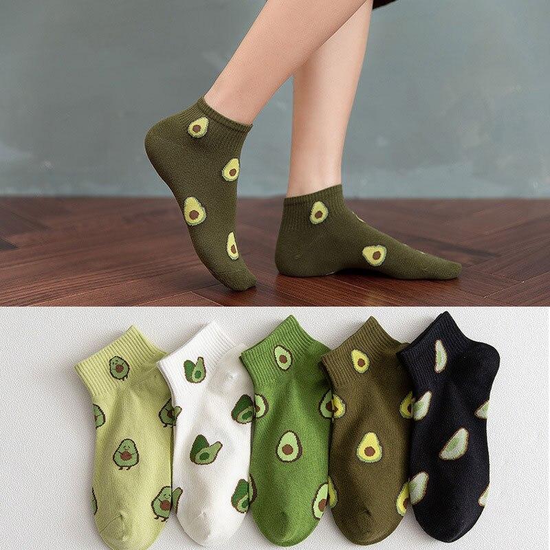 Женские хлопковые носки до щиколотки, однотонные повседневные короткие носки с изображением мультяшных фруктов, авокадо для женщин, милые ...