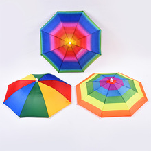 Lightweight umbrella Childrens hat head 50cm rainbow color outdoor elastic hooded fishing