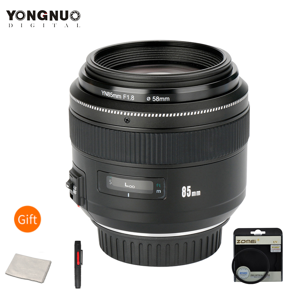 YONGNUO YN85mm F1.8 lente de cámara para Canon EF Mount EOS 85mm AF/MF estándar medio teleobjetivo objetivo de cámara Focal fijo 5DIII