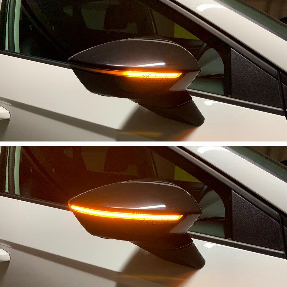 2 pçs asa lateral rolagem dinâmica pisca luz de sinalização para seat leon iii mk3 5f st fr cupra arona kj7 2013 2014 2015 2017 2018