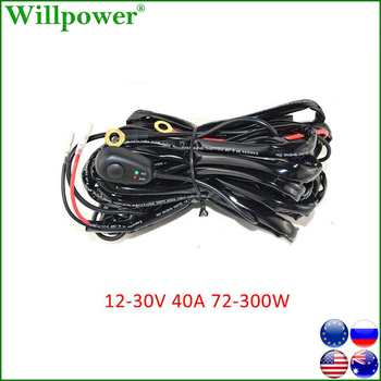 Car 12V 40A LED Work Light Bar Wiring Harness Relay Kit For Auto Offroad 4x4 72-300W Driving Fog Light Wire Fuse Switch Cable 180w 300 watt load capacity with fuse on off switch 12v 40a relay remote controller wiring harness kit for led work light bar
