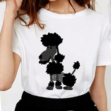 Новые летние модные футболки с принтом пуделя, женские Забавные футболки harajuku, женские футболки с принтом, мягкие хлопковые белые женские топы