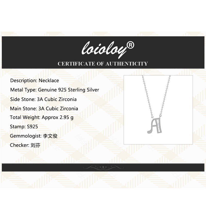 Image 4 - 100% Genuine 925 Silver Initial CZ Necklace Personalized O Z Letter Necklace Name Jewelry For Women Accessories Girlfriend Gift-in Necklaces from Jewelry & Accessories