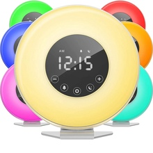 LED Digital Alarm Clock Sunrise Wake Up Light 7 Colors FM Radio Nature Sound Sunset Simulation Touch Control Snooze Function