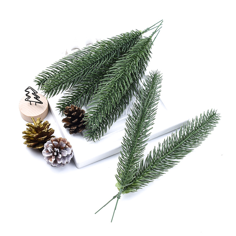 6pcs Green Leaves Pine Needle Home Decoration Accessories Wedding Decorative Flowers Wreaths Christmas Crafts Artificial Plants