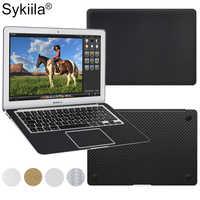 Sykiia pour Macbook peau fibre de carbone Air 11 13 Pro 13 15 16 Retina 12 couverture complète du corps autocollant de protection vinyle décalque argent