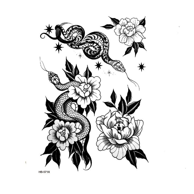 Snake Rose Flowers Waterproof Temporary Tattoo Sticker Tatuagem Beauty Snake Woman Tatoo Kids Art Body Stickers Henna Tattoos