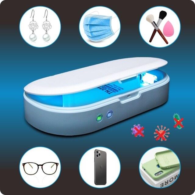 Stérilisateur à lampe UV, boîte de désinfection, désinfectant pour téléphone, avec chargeur sans fil, fonction daromathérapie