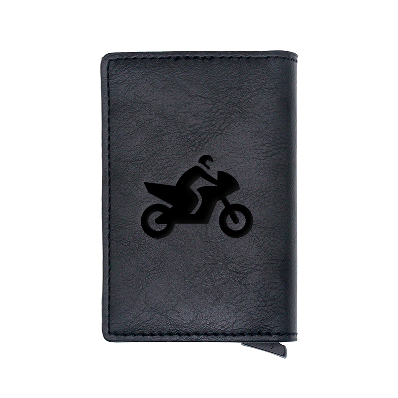 Cool Motorcycle Cycling Design Card Holder Wallets Men Women Boy Rfid Leather Short Purse Slim Mini Wallet Small  Money Bag