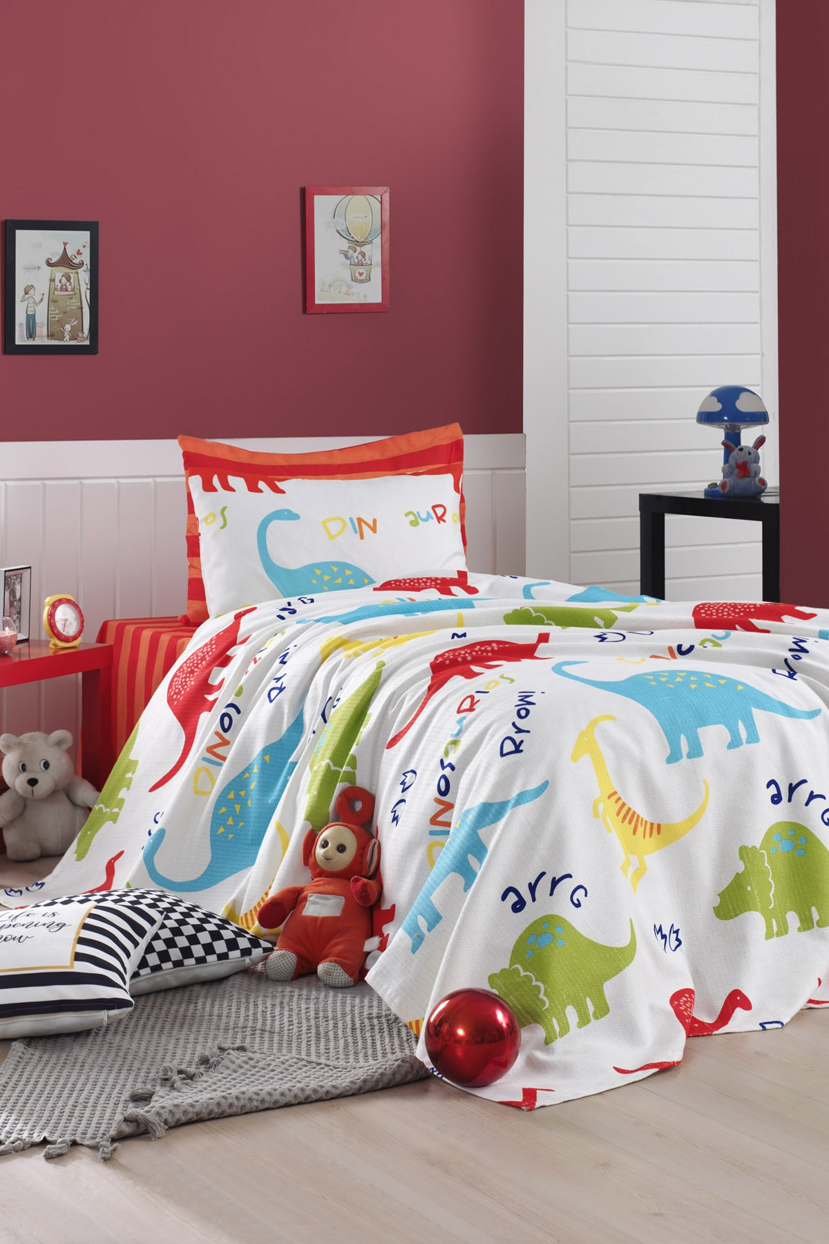 Printed Pike Bed Sheet Pillowcase Set Single Personality Dinazorus White For Kids Fun Educational Health Care Home Gift Happiness