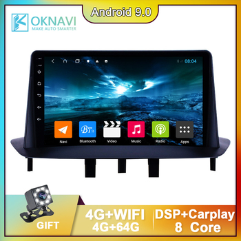 9'' Android 9.0 Car Radio Multimedia Player For Renault Megane 3 2008-2014 GPS Navigation Track Support DVR with Camera 4G+Wifi image
