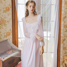 Princess Cotton Nightdress Female Autumn Long Sleeve Lace Flower Flying Skirt Elegant Romantic Dress GZ05