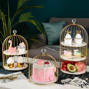 Креативная полка для показа еды в птичьей клетке, керамический трехслойный лоток для десертного стола, подставка для торта, подносы для еды,...