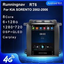 Radio Multimedia con GPS para coche, Radio con reproductor DVD, Android 10, 4G LTE, navegador, para KIA SORENTO 2002 2006, tipo Tesla