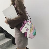 Personality laser women's cartoon cute unicorn messenger bag shiny rainbow five star reflective shoulder bag clear bag sanrio