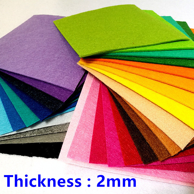 30*30cm 2mm Thick Fabric Handmade Felt Coloful Nonwoven Polyester Flowers Cloth For DIY Dolls Crafts Needlework Sewing Materials