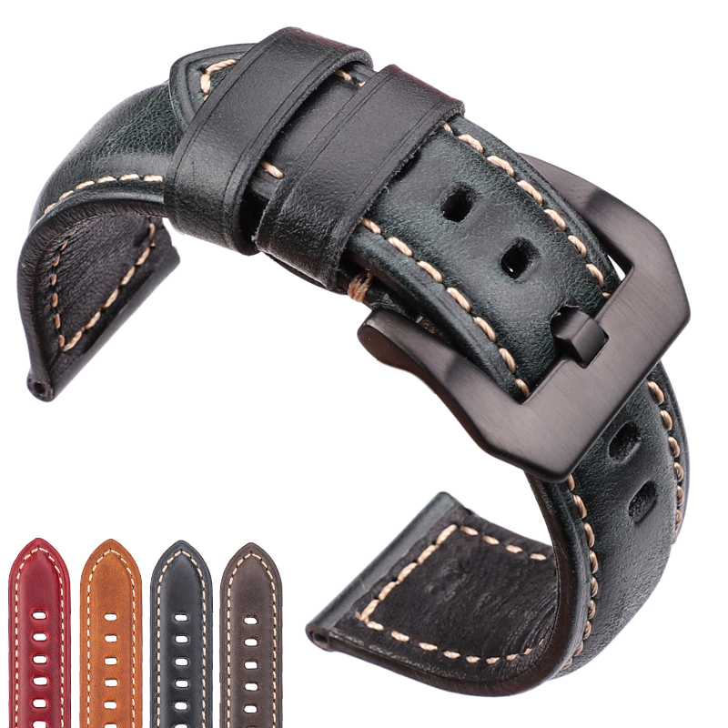 Watch Accessories Cowhide Watchband 20mm 22mm 24mm 26mm Women Men Genuine Leather Wach Band Strap Steel Buckle For Panerai