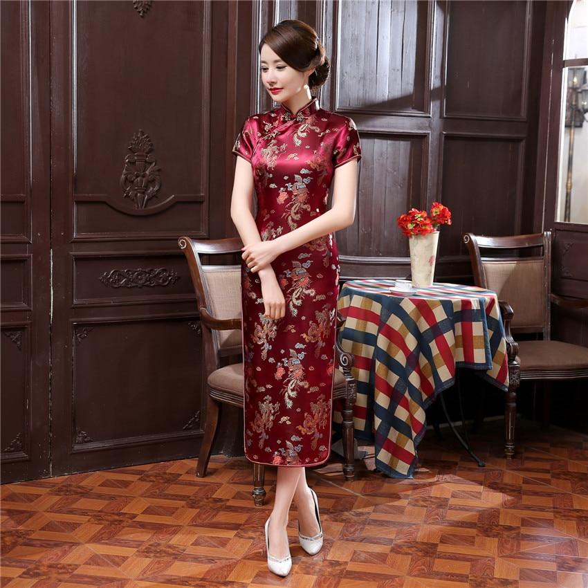 17Colors Chinese Cheongsam Traditional Wedding Qipao Woman Embroidery Elegant Split Dress Female Floral Bodycon Cheongsam