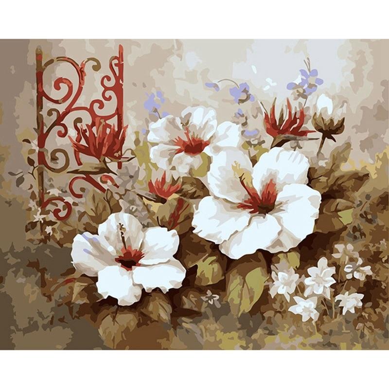 Flores diy pintura digital sala de estar sofá parede pintados à mão pintura decorativa sem moldura paisagem decoração do quarto estética