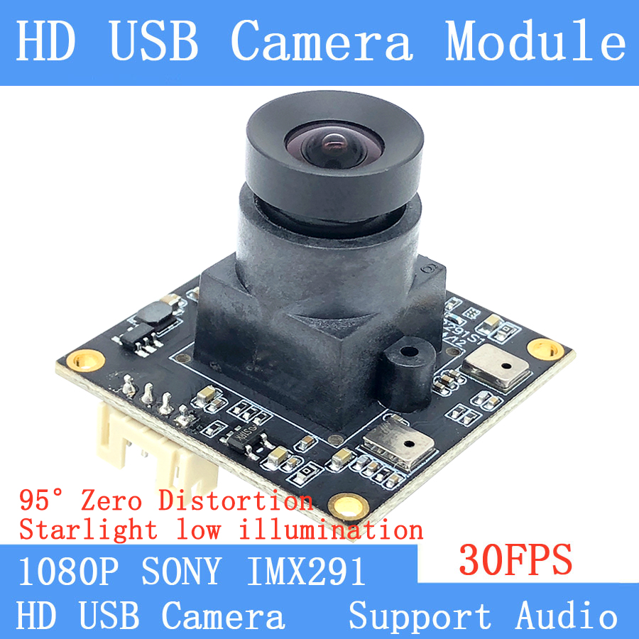 HD 2MP Low illumination Non Distortion Webcam SONY IMX291 2MP 95° OTG UVC 30FPS USB Camera Module Microphone for Linux Windows