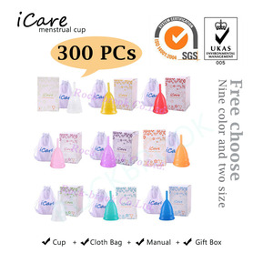 Image 1 - 300 pcs FDA Soft Wholesale Reusable Medical Grade Silicone Menstrual Cup Feminine Hygiene Product Lady Menstruation Copo BMC01RG
