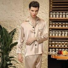 Silk Pajamas Men's Summer Long-Sleeved Pajamas Leisure SetTw