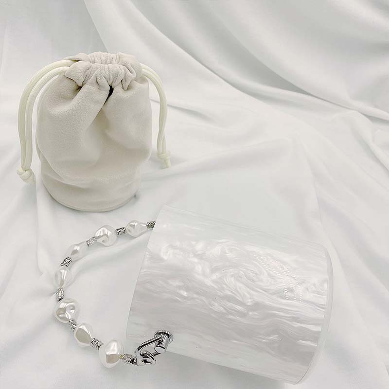 Bag For Women White Acrylic Bucket Handbag for Women Fashion Simple Designer Bag Party Clutch Female Chain Shoulder Wedding Bag-BeeInFly