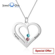 купить Personalized Engraved Name Heart Necklace Pendants Custom Birthstone 925 Sterling Silver Friendship Necklace(JewelOra NE102359) по цене 321.75 рублей