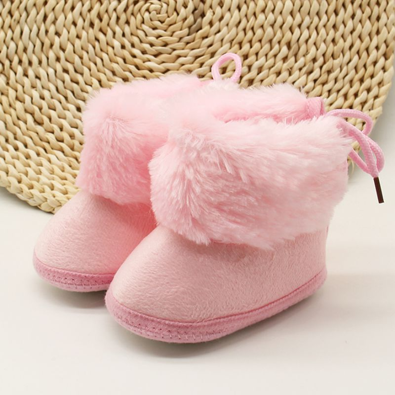 Winter Warm Newborn Baby Girls Cotton Princess Snow Boots Cute Comfortable Velet Bowknot Pompom Soft Soled First Walkers