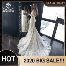 Clássico de manga longa sereia vestido de casamento querida apliques frisado laço ilusão swanskirt hz00 vestido de noiva novia