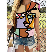 Summer Women's Abstract Painting Pattern Printing 3D Digital Printing Round Neck T-shirt Tees Casual Round Neck Y2K Streewear