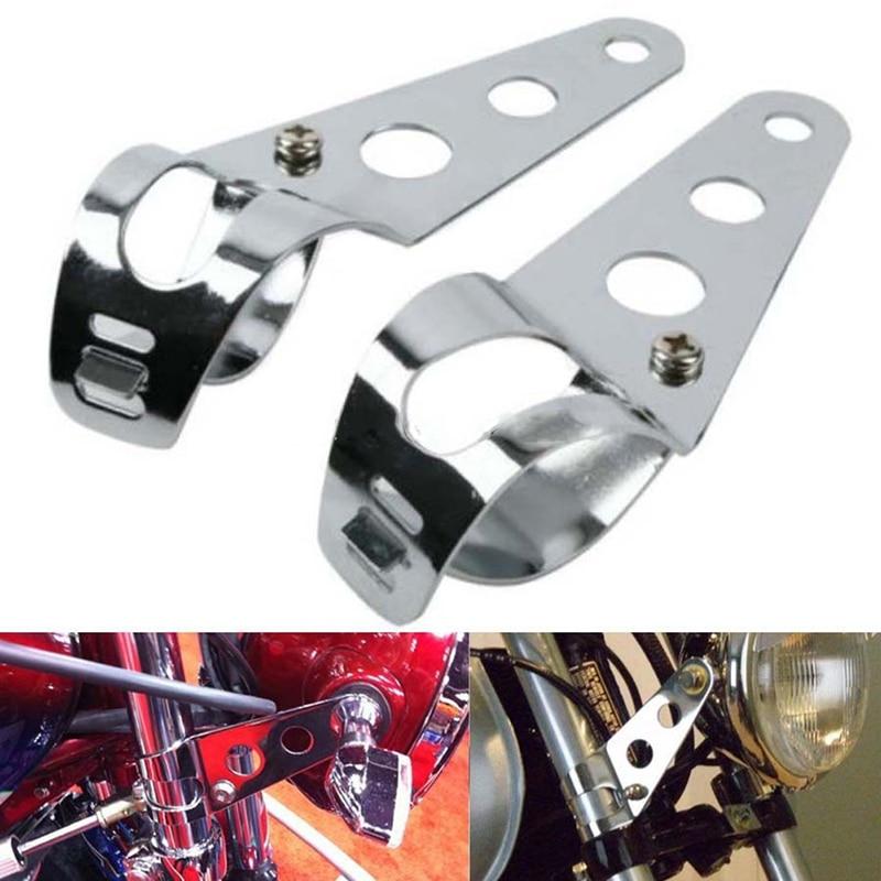 38-51mm 1 Pair Steel Fork Ear/Headlight Side Mount Clamp Brackets For Motorcycle Universal Motorbike Chopper