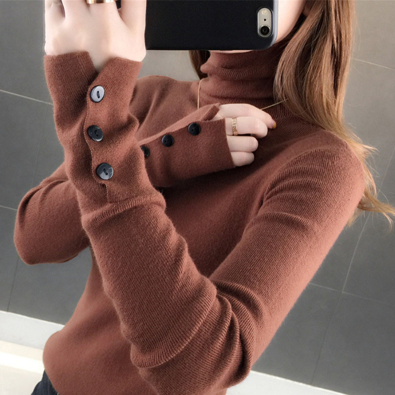 Lucyever New 2020 Autumn Winter Women Turtleneck Pullover Sweater Fashion Slim Knitted Long Sleeve Button Jumper Lady Basic Top