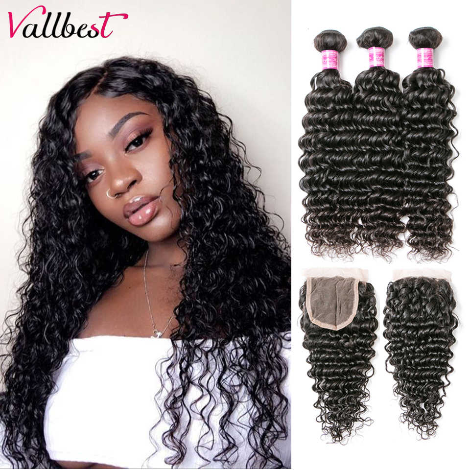 Vallbest Deep Wave Bundles With Closure Brazilian Hair Weave 3 Bundles With Lace Closure Remy Human Hair Bundles With Closure
