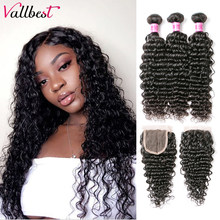 Vallbest Deep Wave Bundles With Closure Brazilian Hair Weave 3 Bundles With Lace Closure Remy Human Hair Bundles With Closure(China)