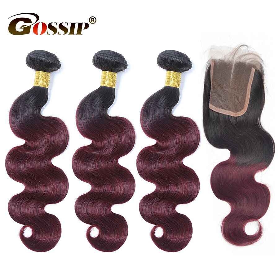 T1B/99J Burgundy Brazilian Hair Weave Bundles With Closure Gossip Brazilian Body Wave Human Hair With 4x4 Closure Remy Hair