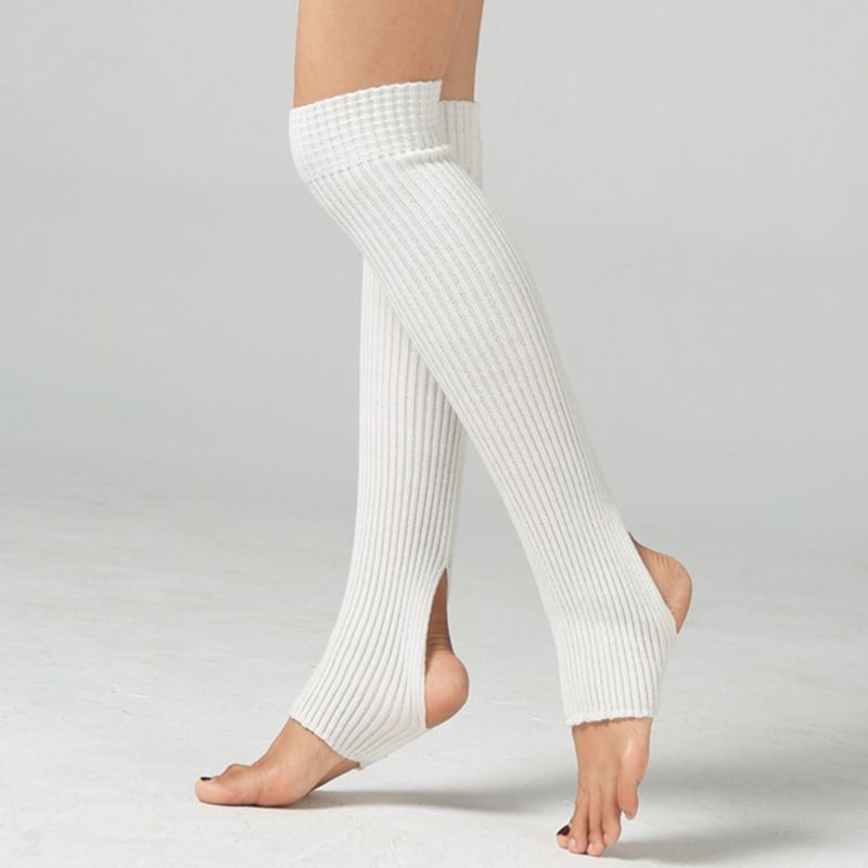 2020 New Winter Knee Length Leg Warmers Ballet Dance Yoga Ribbed Knit Stirrup Long Socks
