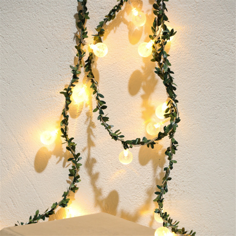 6M 3M Fairy Ball With Ivy Leaf Flexible String Lights Wedding Christmas Party Outdoor Garland Lighting AA Battery Led Power