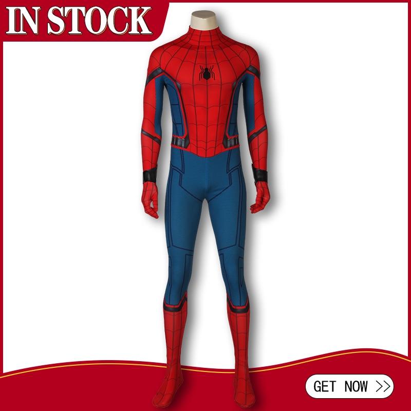In Stock Spider-Man Homecoming Cosplay Peter Benjamin Parker Costume Jumpsuit Zentai Bodysuit Adult Men Halloween Party Outfit