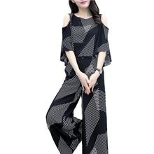 2020 Sexy Off Shoulder Two Piece Set New Wide-leg Pants Suit Women Summer New Korean 2-piece Suit Women Short Sleeve цена и фото