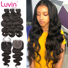 Luvin OneCut Hair Body Wave Brazilian Hair Weave Bundles Human Hair 3 4 Bundles With Closure Remy Hair Extension