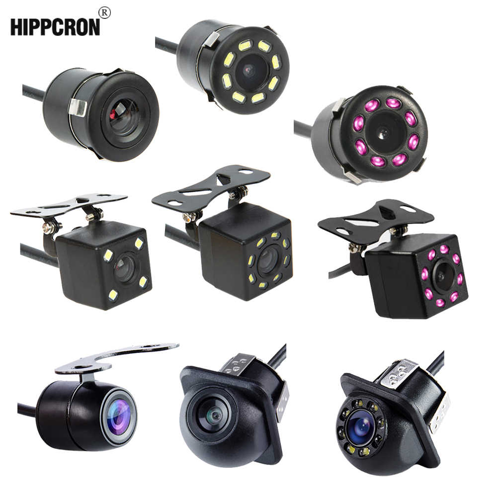 Hippcron Auto Achteruitrijcamera 4 Led Nachtzicht Omkeren Auto Parking Monitor Ccd Waterdicht 170 Graden Hd Video