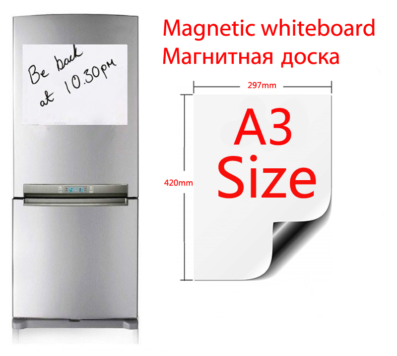A3 Size Magnetic Vinyl Whiteboard Fridge 297mmX420mm Soft Home Office Kitchen Magnet Dry-erase Board White Boards Flexible Pad