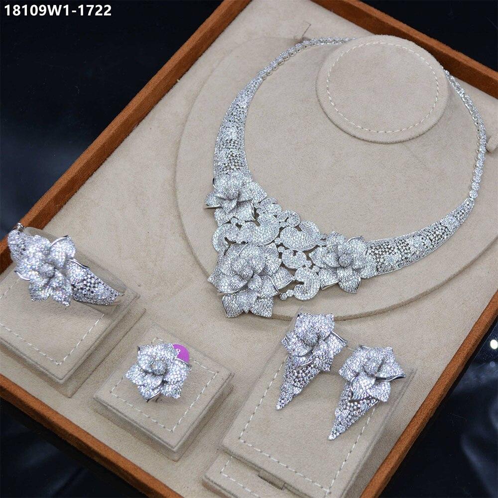 Mariée parler grande fleur bijoux 4 pièces Dubai collier boucle d'oreille bracelet anneaux ensembles africain Zircon ensemble de bijoux femmes accessoires de mode