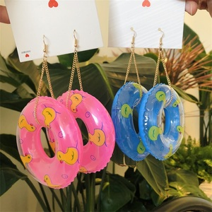 New Exaggerated Earrings for Women 2020 Red Blue Pendants Earrings Duckling Swimming Rings Earrings Punk fashion Jewelry