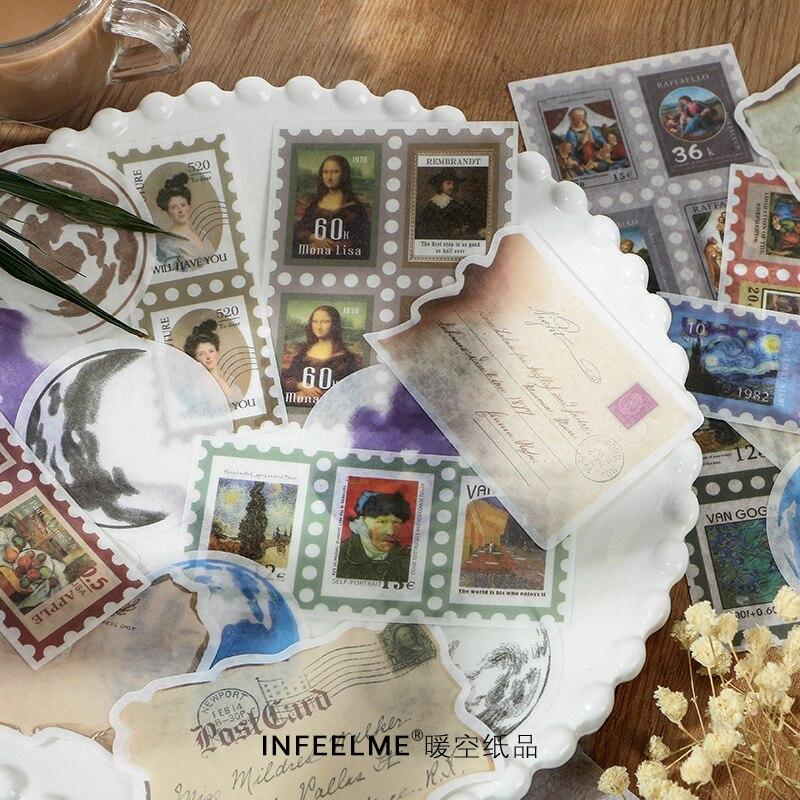 20 unids/lote vintage poster decoración washi pegatina de papel para decoración pegatinas DIY diario pegatina para planificador de colección de recortes Papel pintado autoadhesivo impermeable de PVC de 5 M/10 M, luz de pared para baño de cocina, pegatinas para azulejos, pegatinas con patrón de mosaico, película decorativa
