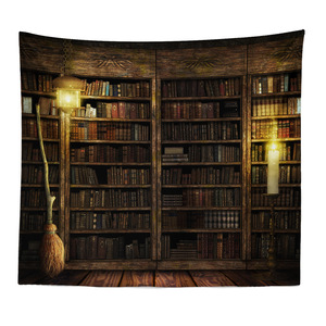 Image 2 - Magic Retro Bookshelf Tapestry Art Wall Hanging Tapestries Bedspread Throw Home Decor